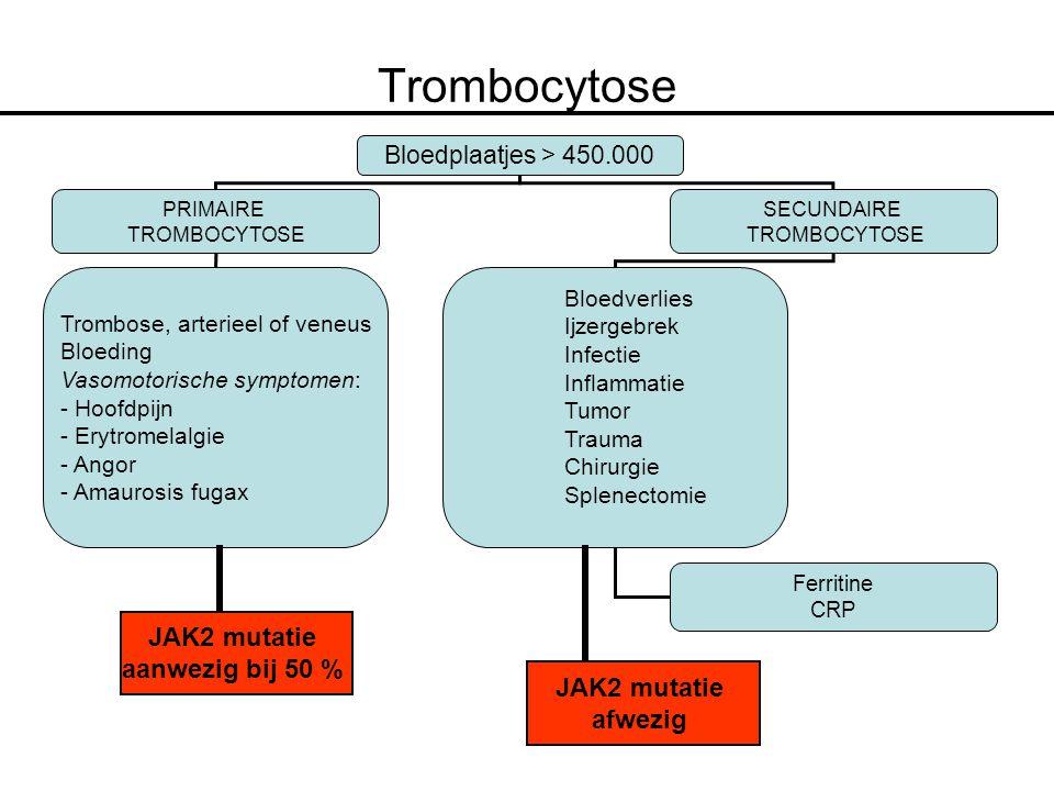 Trombocytose JAK2 mutatie aanwezig bij 50 % JAK2 mutatie afwezig