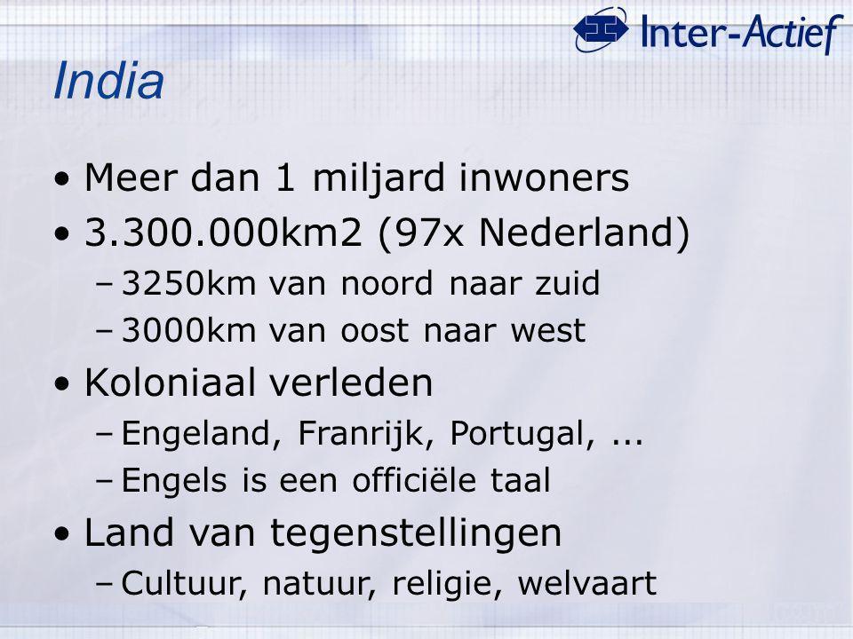 India Meer dan 1 miljard inwoners 3.300.000km2 (97x Nederland)