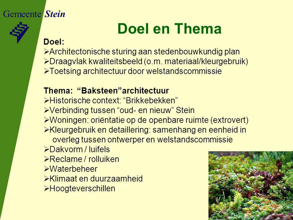 Doel en Thema Gemeente Stein Doel: