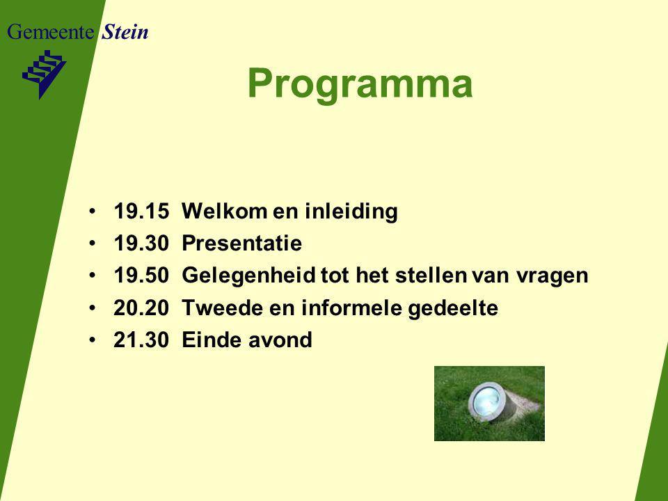 Programma Gemeente Stein 19.15 Welkom en inleiding 19.30 Presentatie