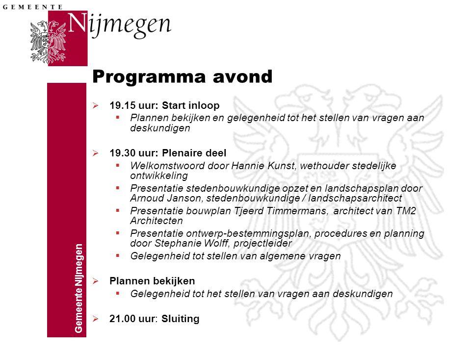 Programma avond 19.15 uur: Start inloop