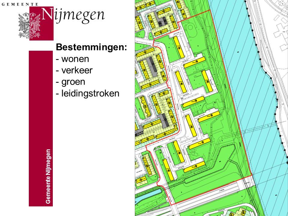 Bestemmingen: - wonen - verkeer - groen - leidingstroken