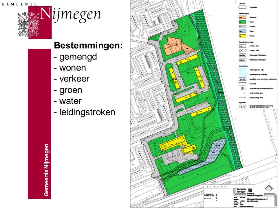 Bestemmingen: - gemengd - wonen - verkeer - groen - water - leidingstroken