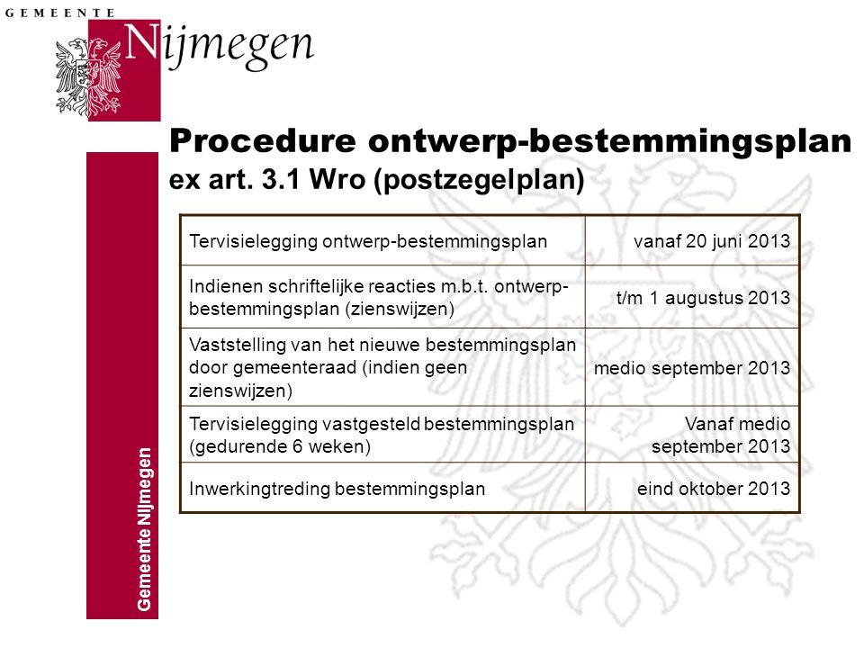 Procedure ontwerp-bestemmingsplan ex art. 3.1 Wro (postzegelplan)