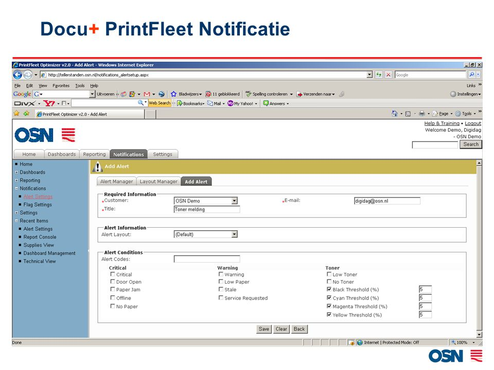 Docu+ PrintFleet Notificatie