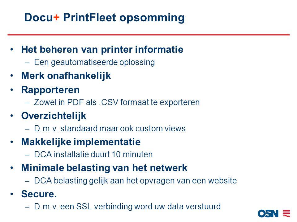 Docu+ PrintFleet opsomming