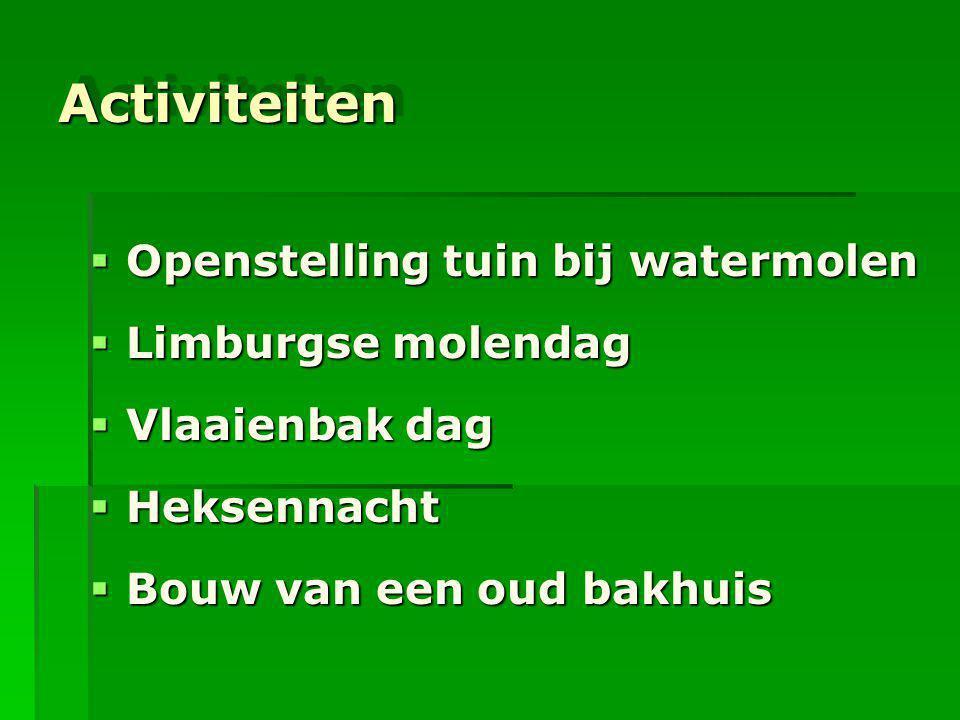 Activiteiten Openstelling tuin bij watermolen Limburgse molendag