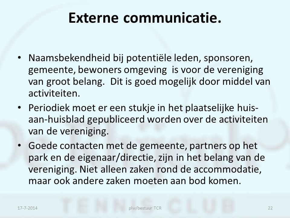 Externe communicatie.