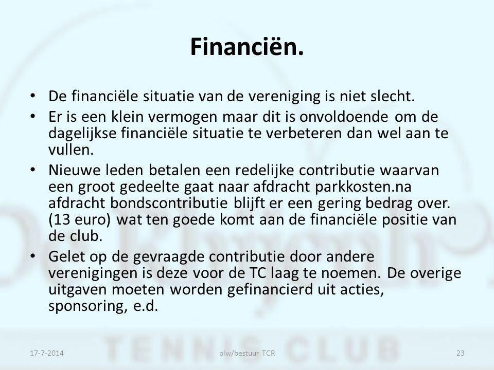 Financiën. De financiële situatie van de vereniging is niet slecht.