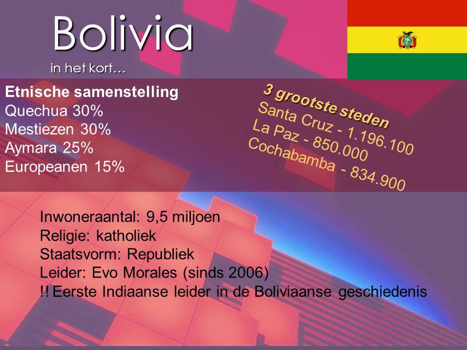 Bolivia in het kort… Etnische samenstelling 3 grootste steden
