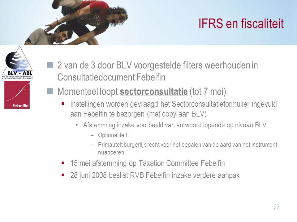 IFRS en fiscaliteit 2 van de 3 door BLV voorgestelde filters weerhouden in Consultatiedocument Febelfin.