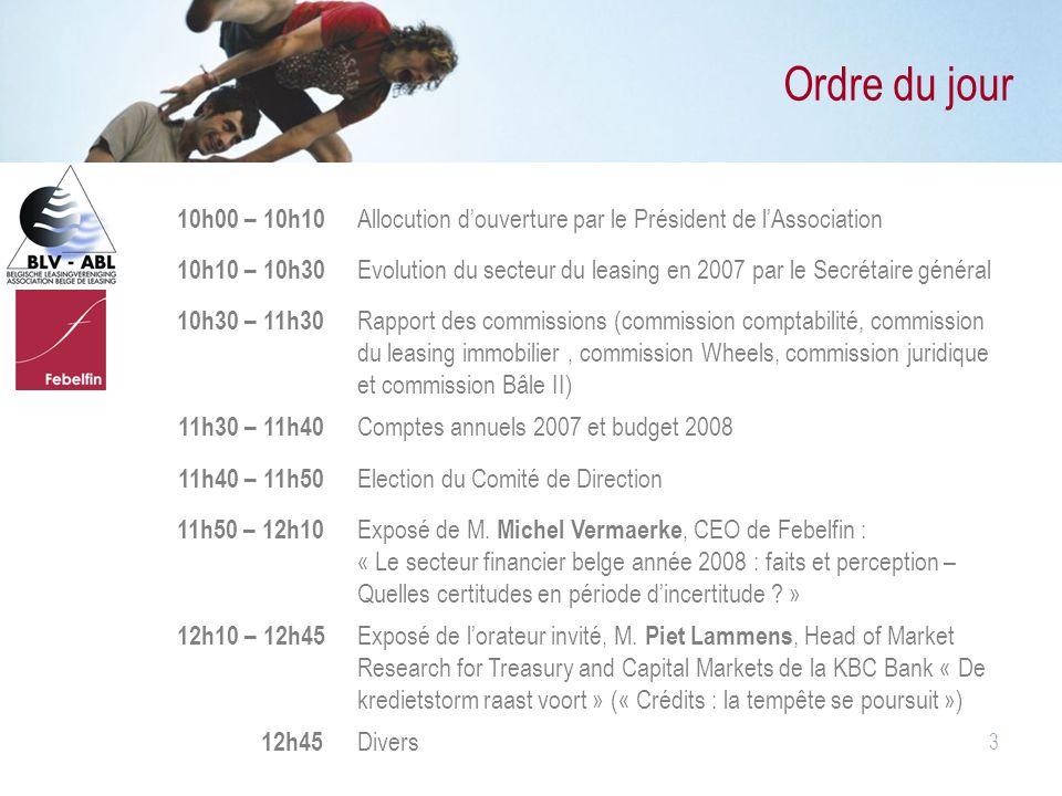 Ordre du jour 10h00 – 10h10. Allocution d'ouverture par le Président de l'Association. 10h10 – 10h30.