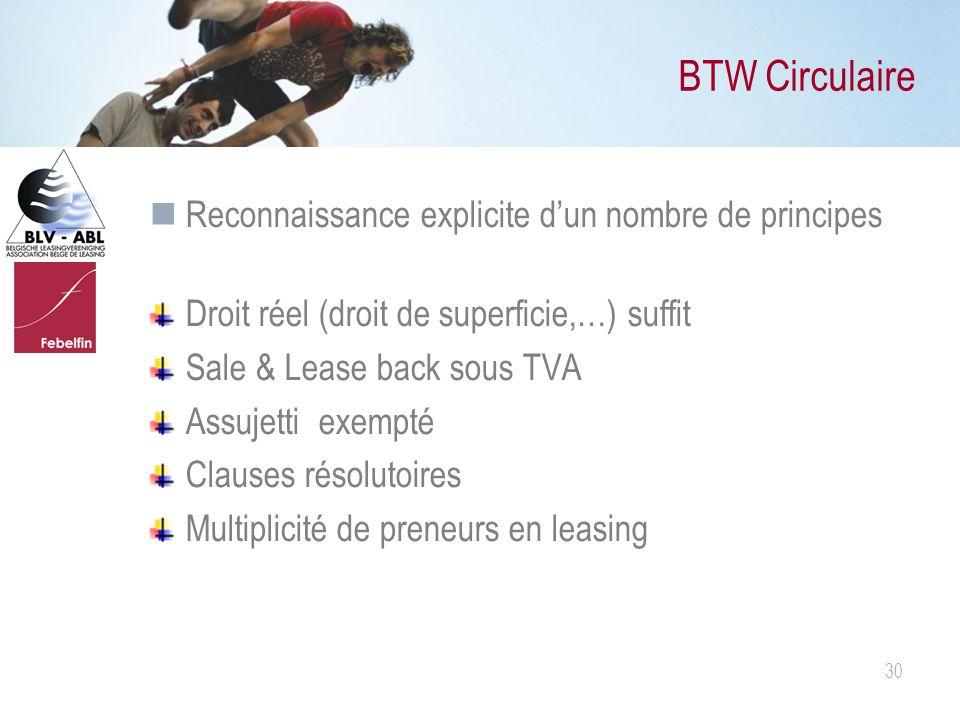 BTW Circulaire Reconnaissance explicite d'un nombre de principes
