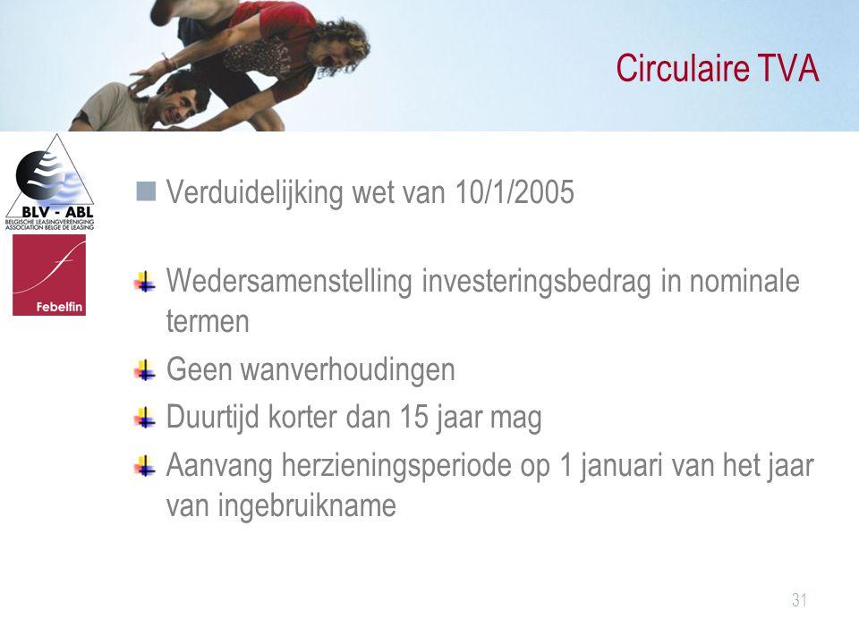 Circulaire TVA Verduidelijking wet van 10/1/2005