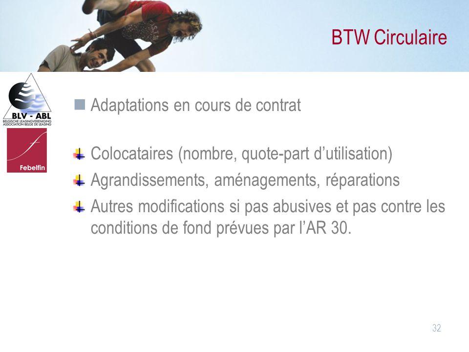 BTW Circulaire Adaptations en cours de contrat