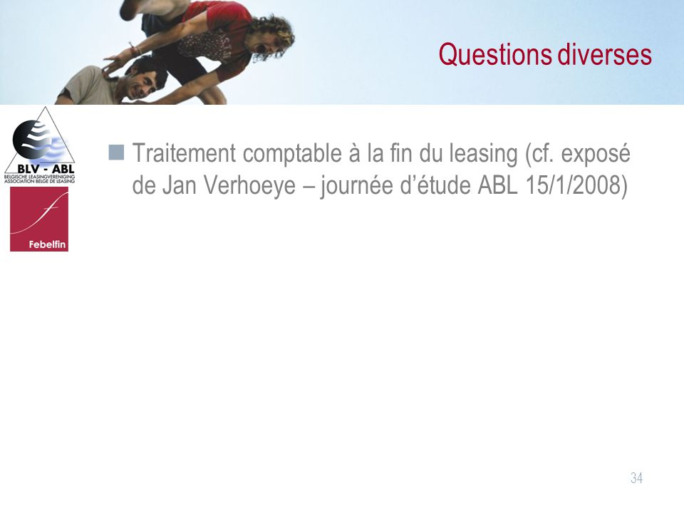 Questions diverses Traitement comptable à la fin du leasing (cf.