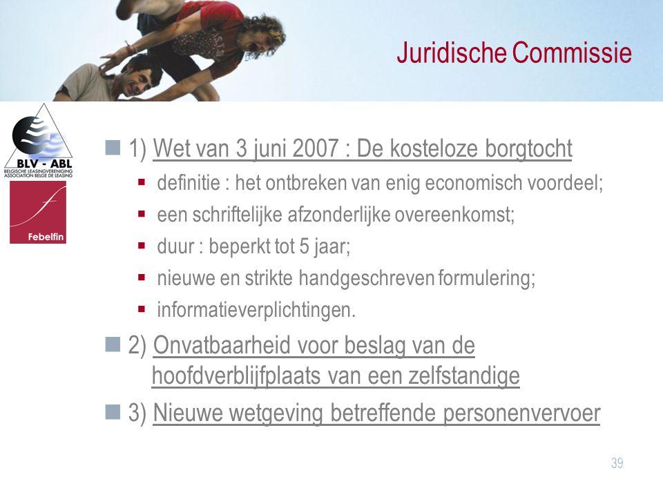 Juridische Commissie 1) Wet van 3 juni 2007 : De kosteloze borgtocht