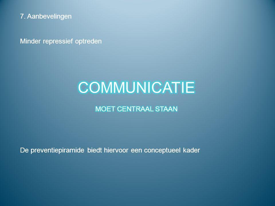 COMMUNICATIE 7. Aanbevelingen Minder repressief optreden