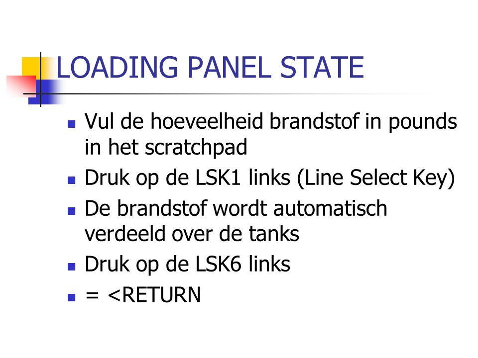 LOADING PANEL STATE Vul de hoeveelheid brandstof in pounds in het scratchpad. Druk op de LSK1 links (Line Select Key)