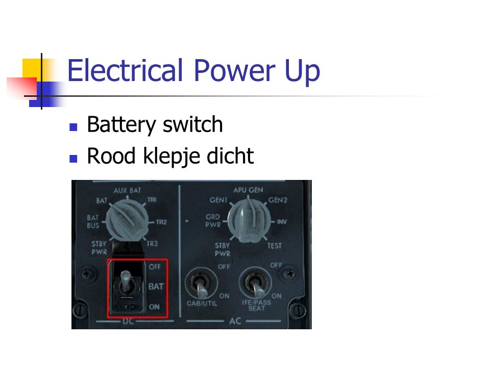 Electrical Power Up Battery switch Rood klepje dicht