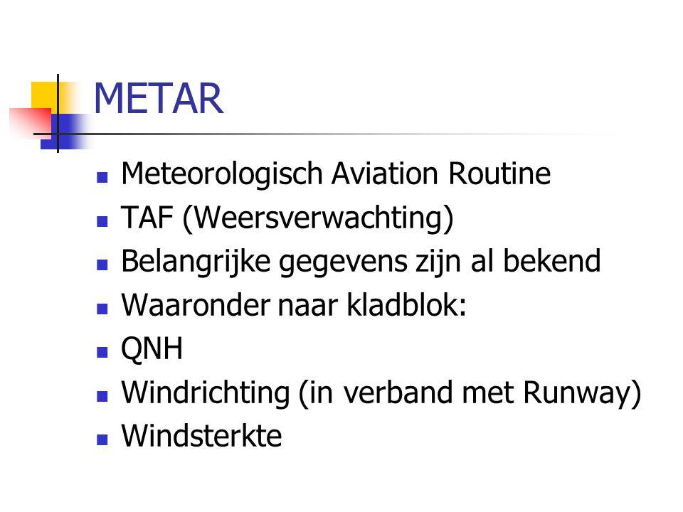 METAR Meteorologisch Aviation Routine TAF (Weersverwachting)