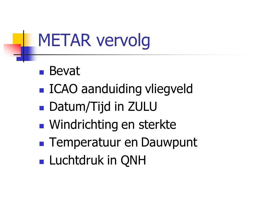 METAR vervolg Bevat ICAO aanduiding vliegveld Datum/Tijd in ZULU