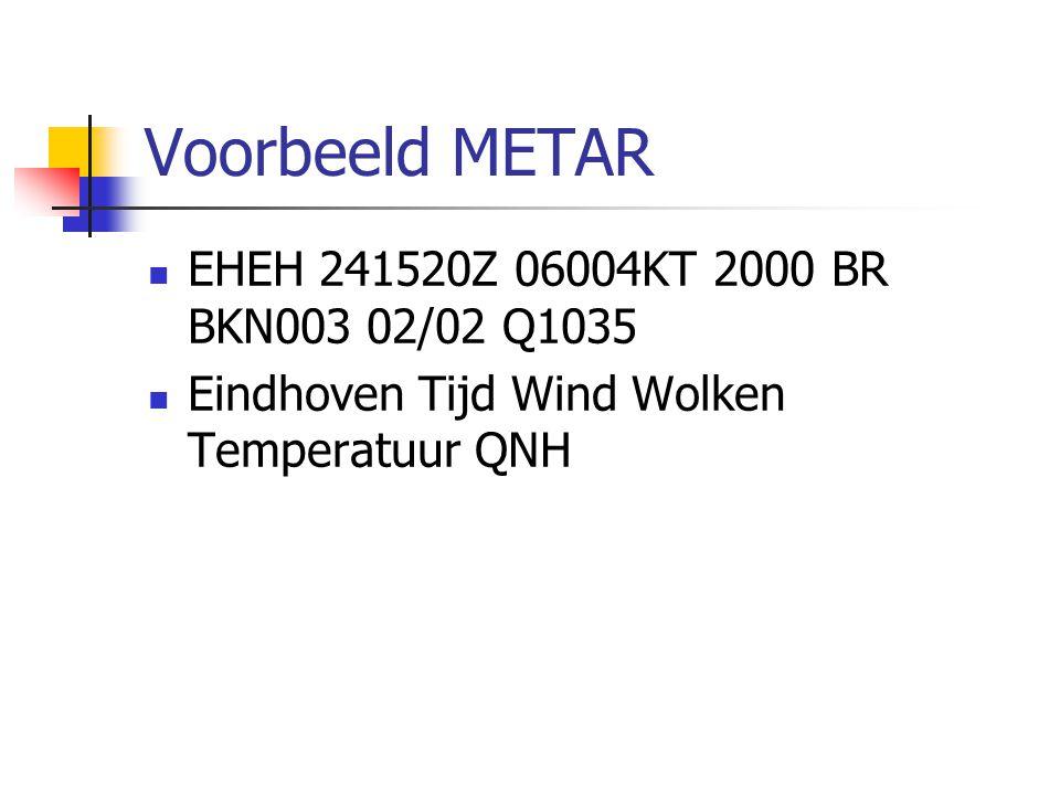 Voorbeeld METAR EHEH 241520Z 06004KT 2000 BR BKN003 02/02 Q1035