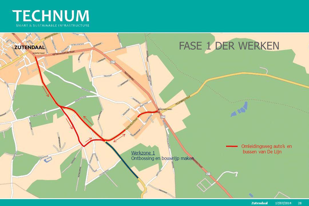 FASE 1 DER WERKEN Omleidingsweg auto's en bussen van De Lijn