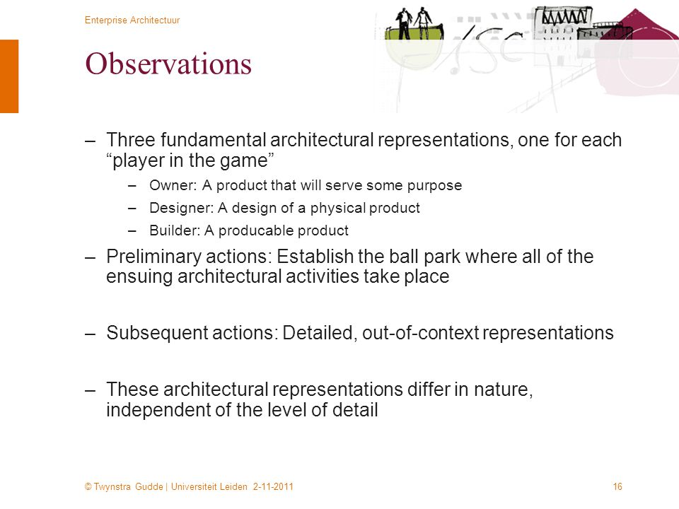 Observations Three fundamental architectural representations, one for each player in the game Owner: A product that will serve some purpose.