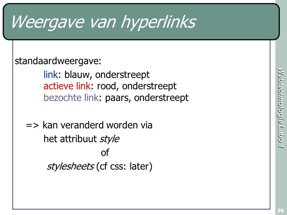 Weergave van hyperlinks