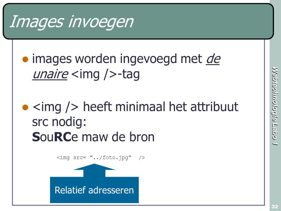 Images invoegen images worden ingevoegd met de unaire <img />-tag. <img /> heeft minimaal het attribuut src nodig: SouRCe maw de bron.