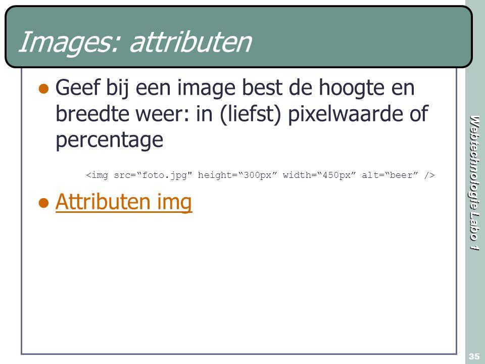 Images: attributen Geef bij een image best de hoogte en breedte weer: in (liefst) pixelwaarde of percentage.