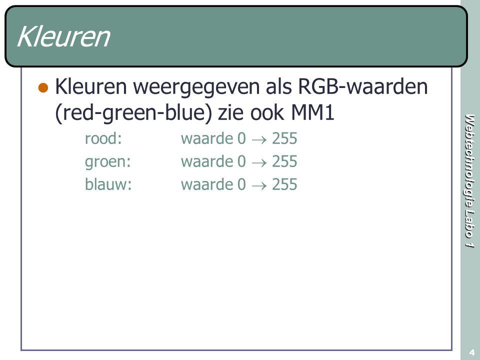 Kleuren Kleuren weergegeven als RGB-waarden (red-green-blue) zie ook MM1. rood: waarde 0  255.