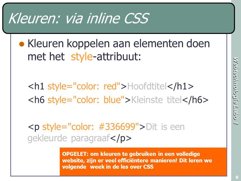 Kleuren: via inline CSS