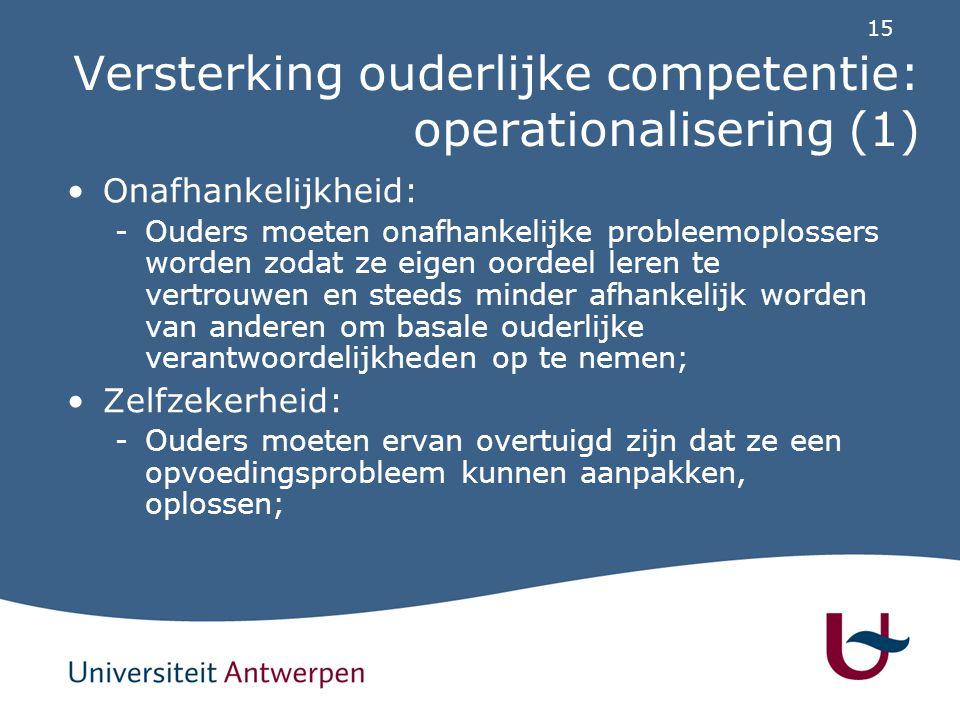 Versterking ouderlijke competentie: operationalisering (2)