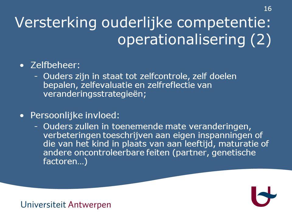 Versterking ouderlijke competentie: opvoedingsstrategieën (1)
