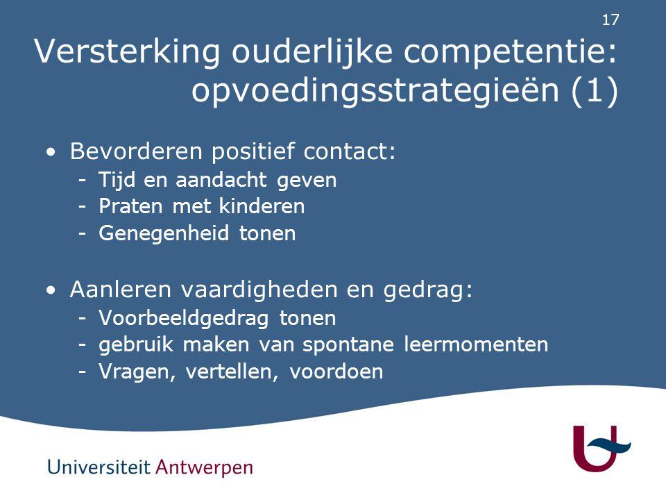 Versterking ouderlijke competentie: opvoedingsstrategieën (2)