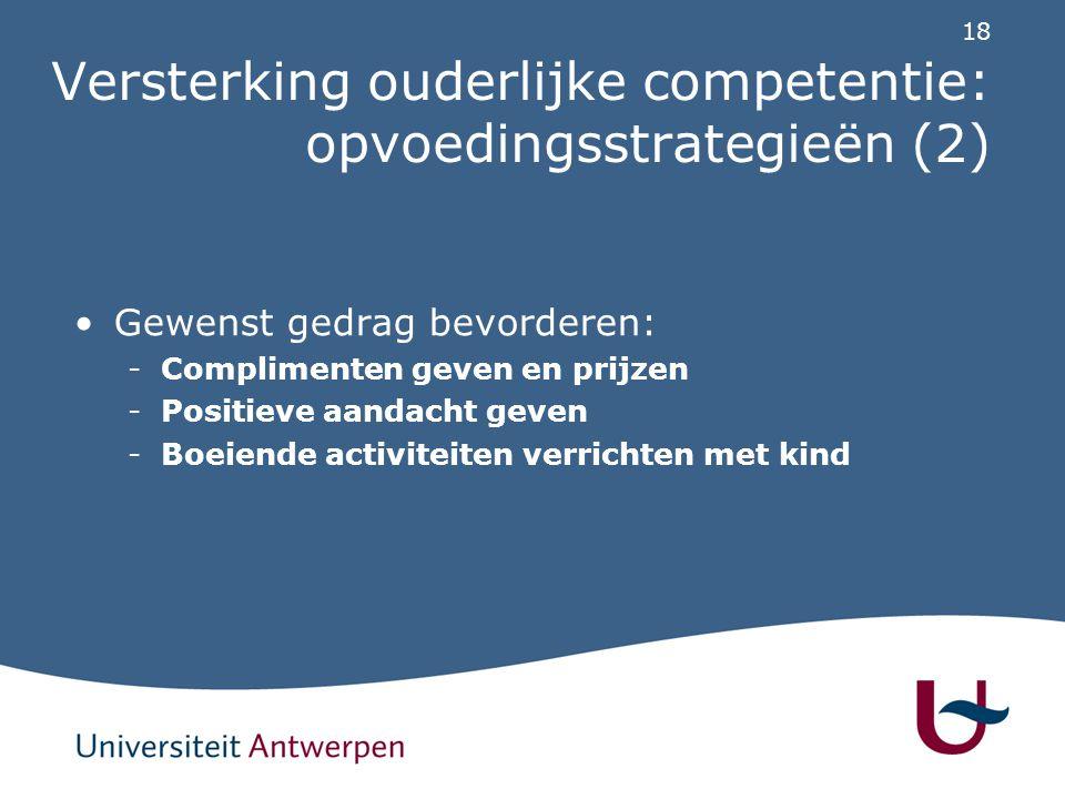 Versterking ouderlijke competentie: opvoedingsstrategieën (3)