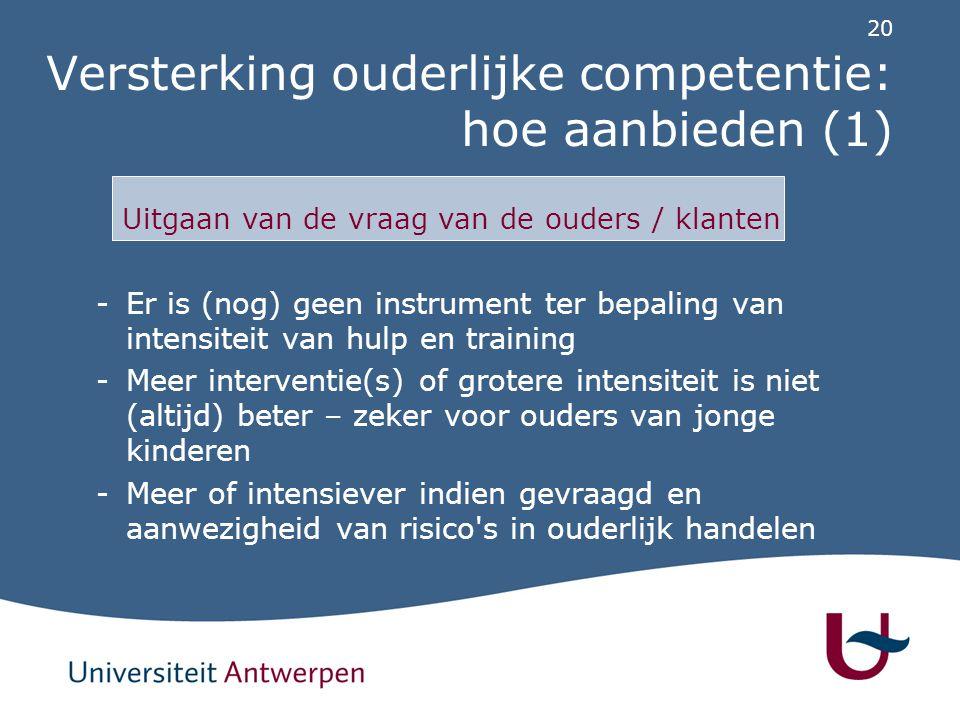 Versterking ouderlijke competentie: hoe aanbieden (2)