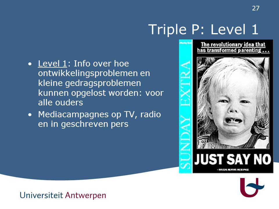 Triple P: Level 2 Level 2: specifiek advies over een afzonderlijk probleem bij kind: voor ouders met vragen over gedrag en ontwikkeling.