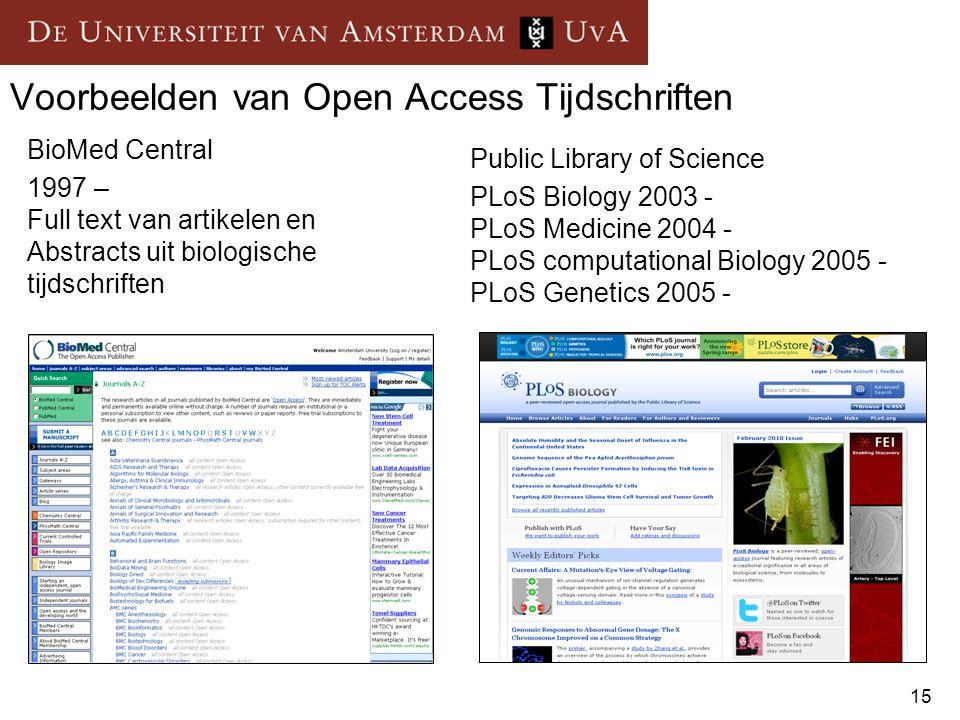 Voorbeelden van Open Access Tijdschriften