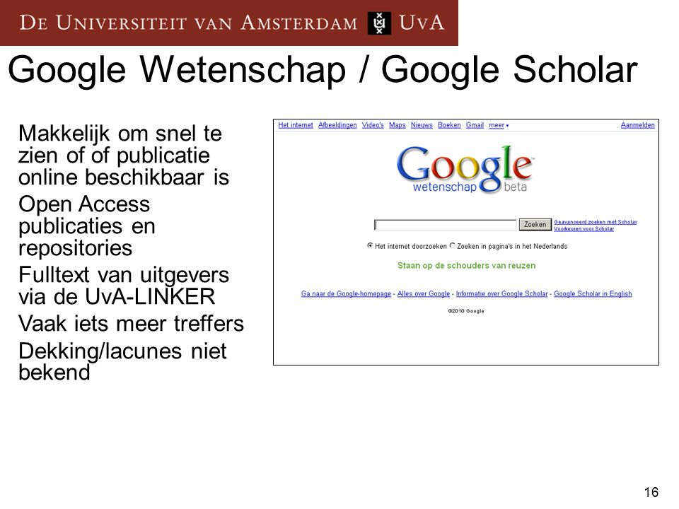 Google Wetenschap / Google Scholar