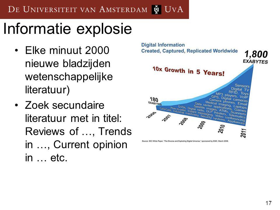 Informatie explosie Elke minuut 2000 nieuwe bladzijden wetenschappelijke literatuur)