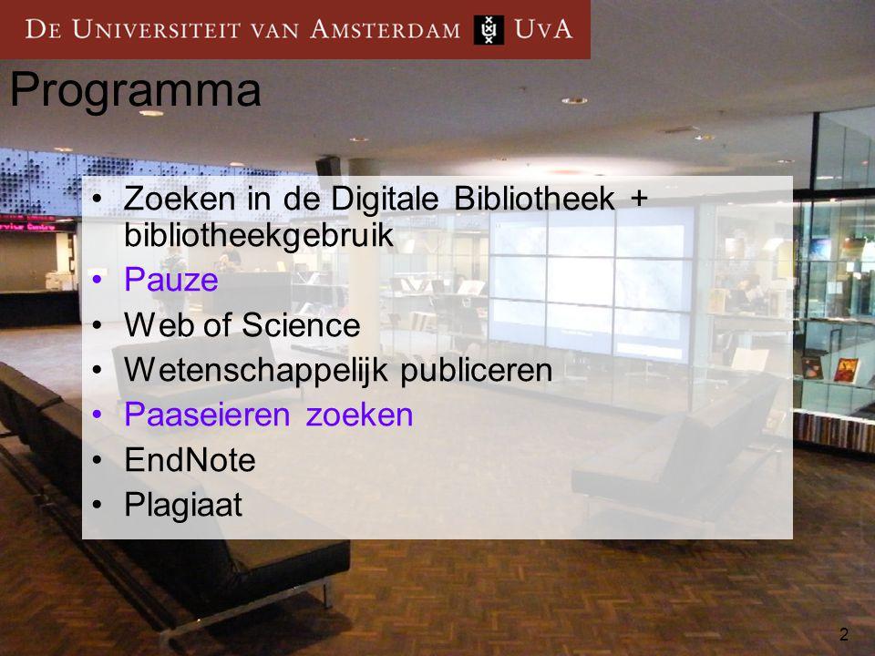 Programma Zoeken in de Digitale Bibliotheek + bibliotheekgebruik Pauze