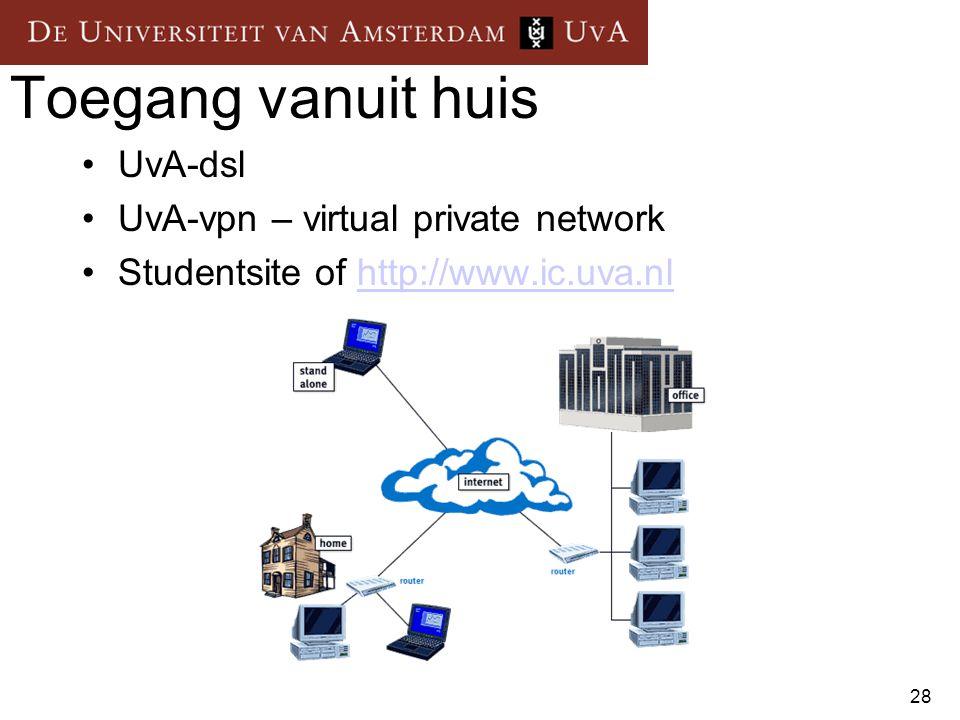 Toegang vanuit huis UvA-dsl UvA-vpn – virtual private network