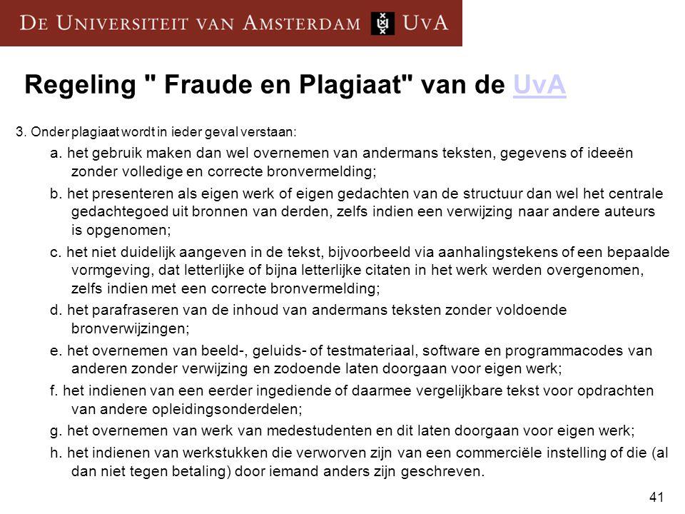 Regeling Fraude en Plagiaat van de UvA