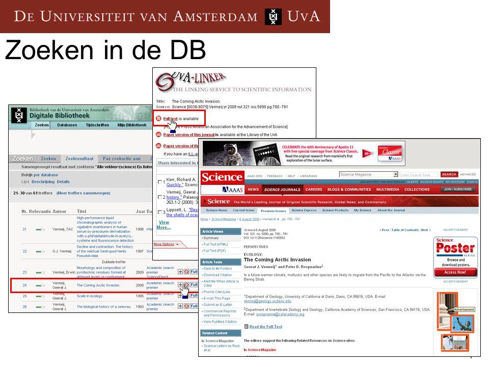 Zoeken in de DB