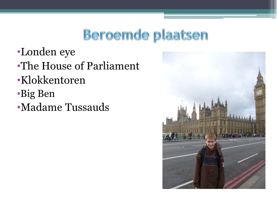 Beroemde plaatsen Londen eye The House of Parliament Klokkentoren