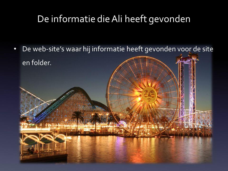 De informatie die Ali heeft gevonden