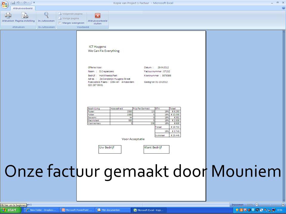 Onze factuur gemaakt door Mouniem